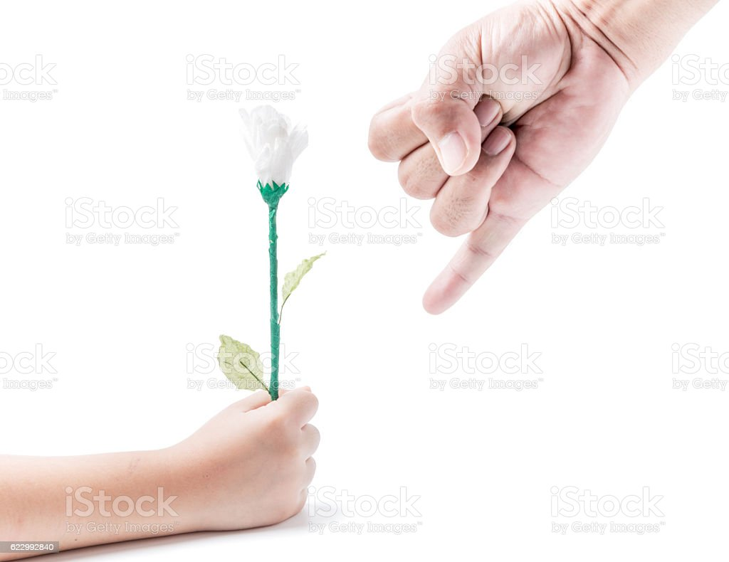 finger hand symbols and flower in hand girl isolated stock photo