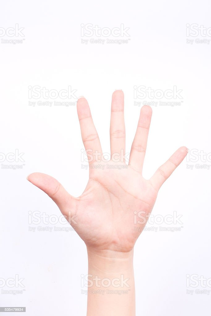 finger hand symbols isolated concept stop block or five points stock photo