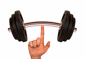 Finger holding up a weight representing weight lifting