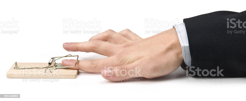 Finger in trap royalty-free stock photo