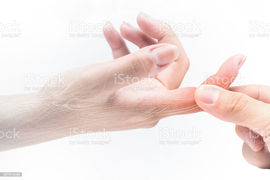 finger muscle pain stock photo