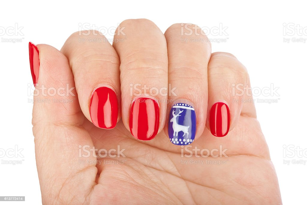 Finger nail with pattern stock photo