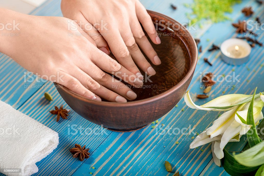 Finger nails care stock photo