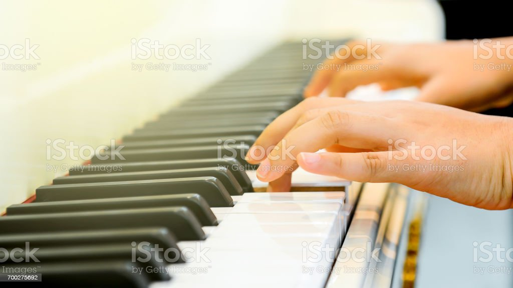 Finger of a pianist stock photo