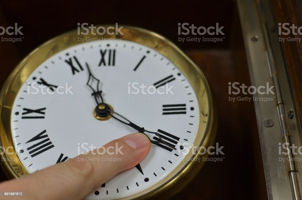 Finger on a Clock Hand stock photo