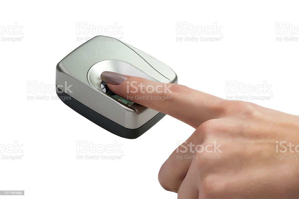 Finger on biometric scanner royalty-free stock photo