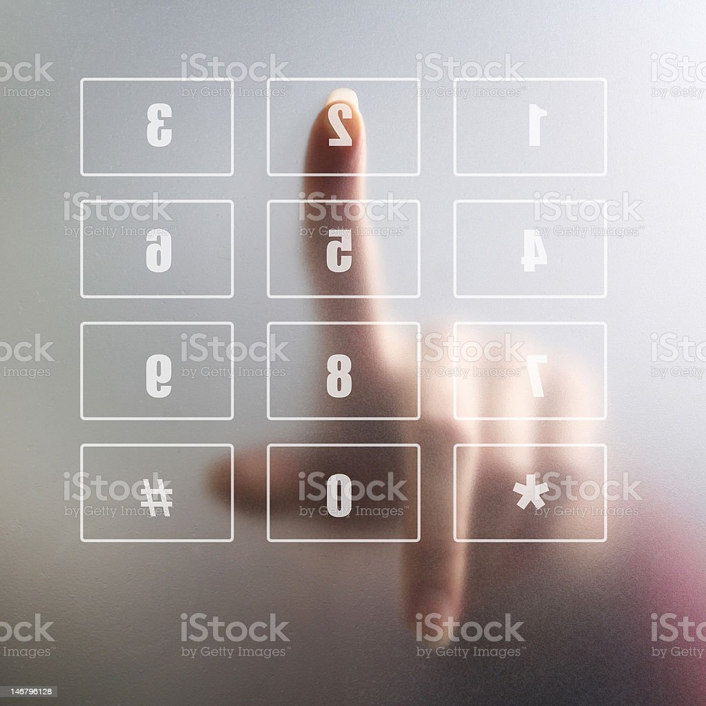 finger on digital keyboard royalty-free stock photo
