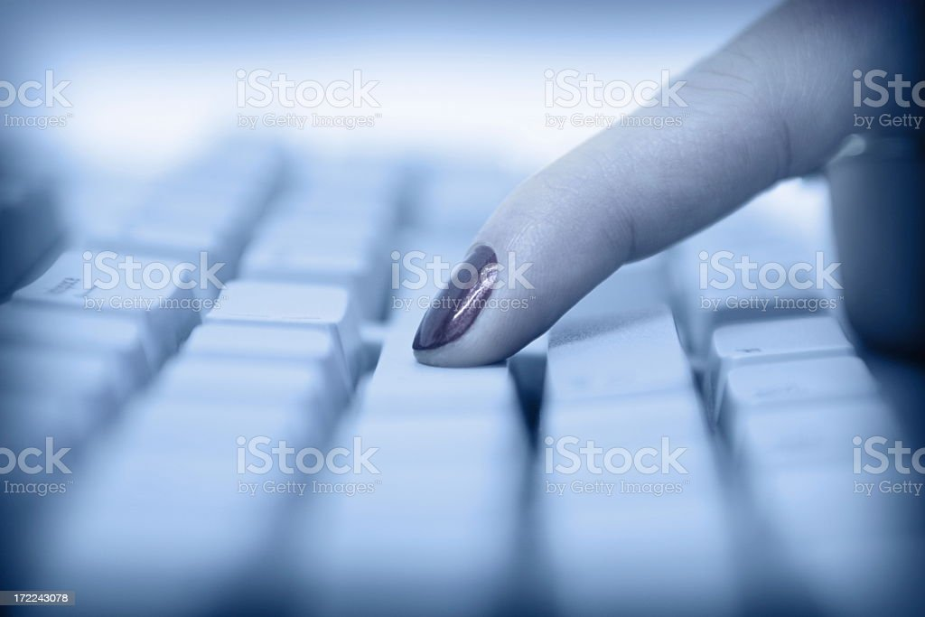 Finger on Keyboard royalty-free stock photo