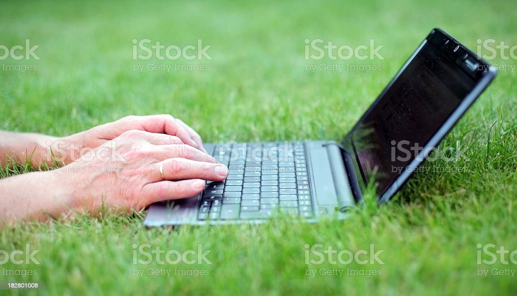 finger on laptop keyboard in gras royalty-free stock photo