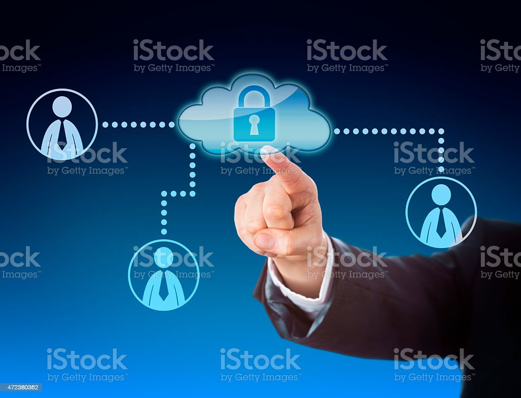 Finger Pointing At Cloud Access In Social Network stock photo