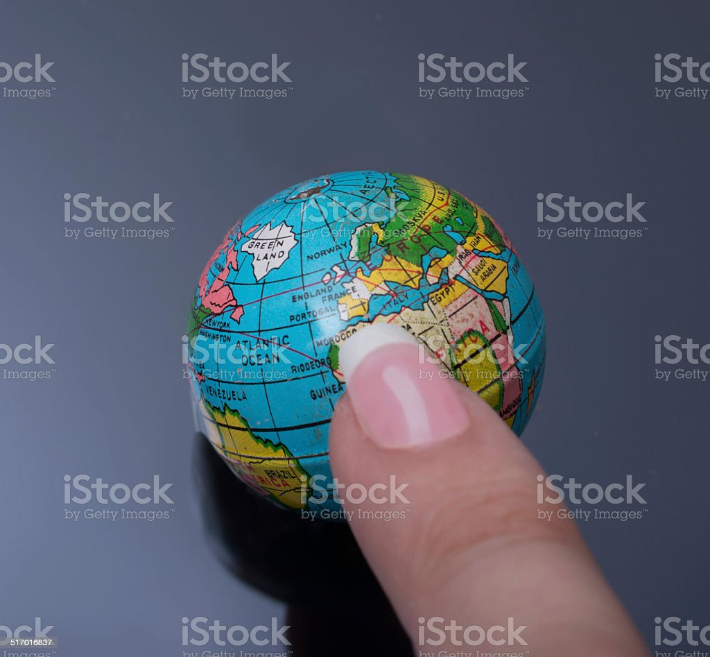finger pointing at Europe stock photo