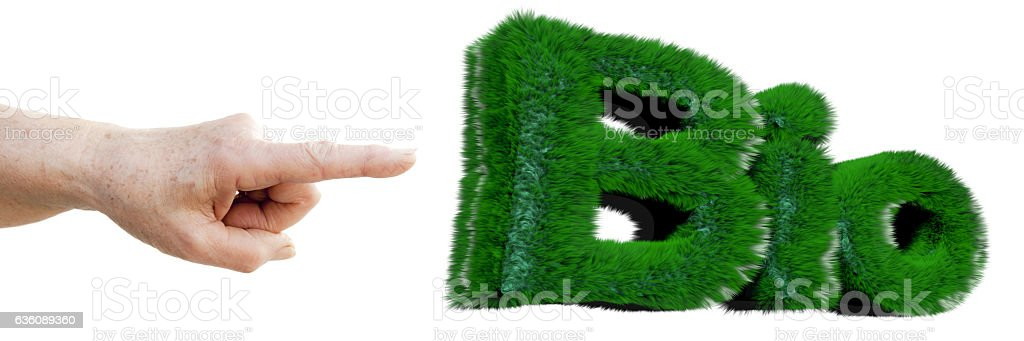 Finger pointing 'BIO' write stock photo