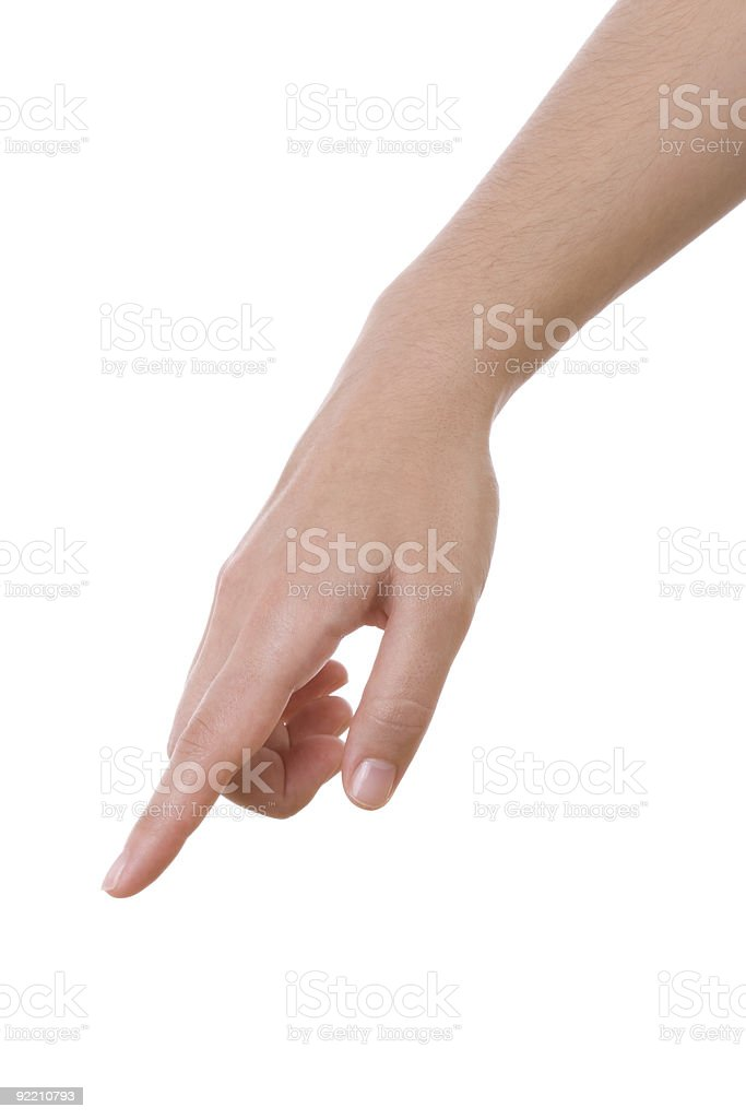 Finger pointing down on white background stock photo