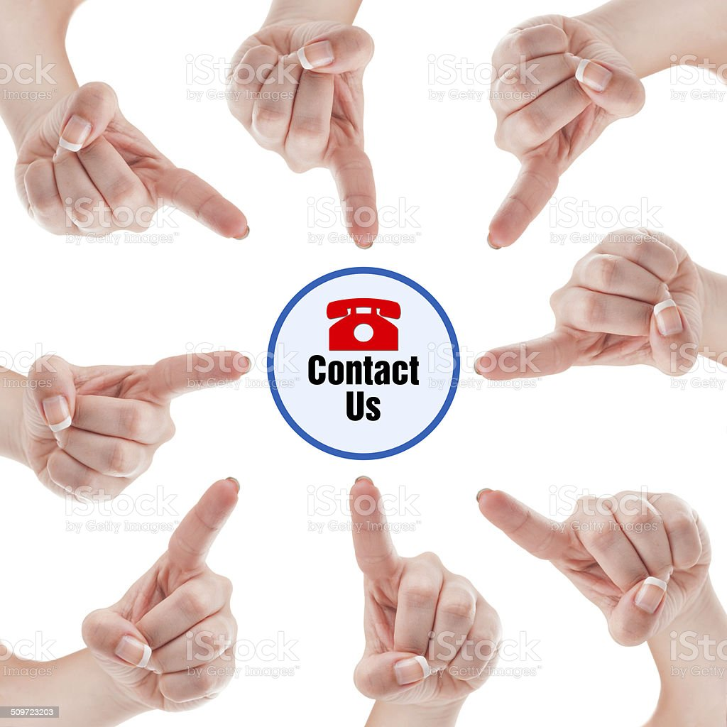 Finger pointing on contact us stock photo