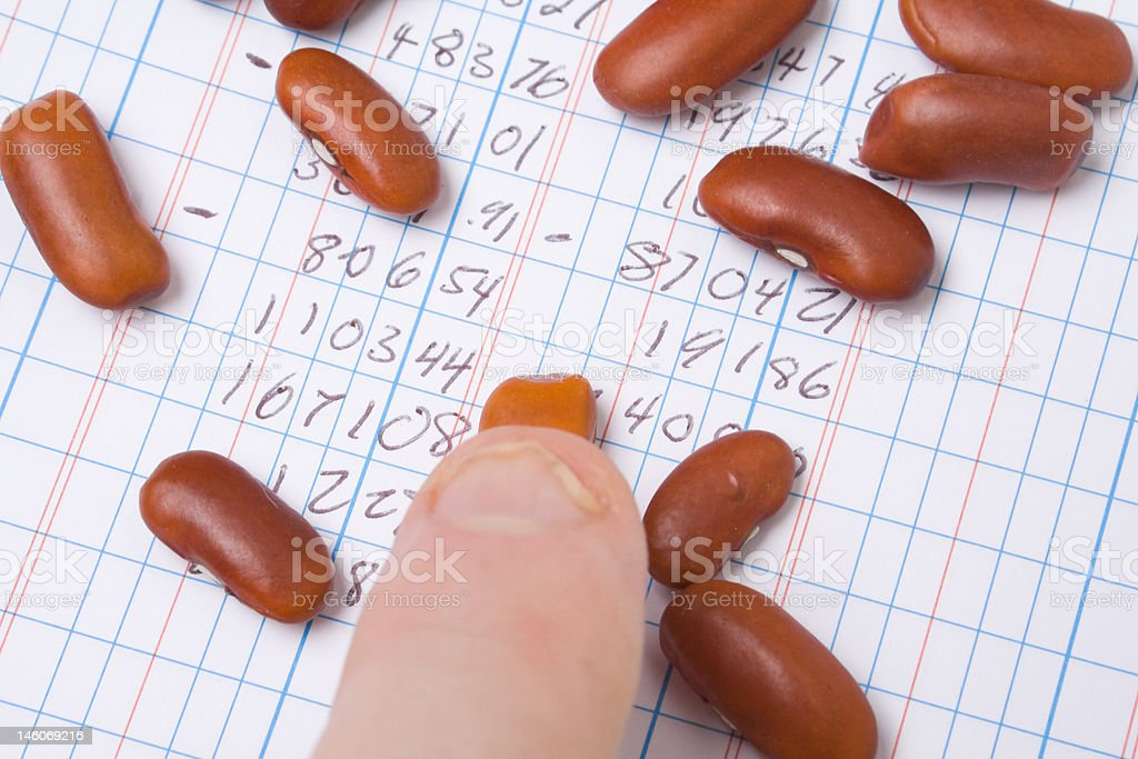Finger Pointing Red Kidney Beans on Ledger Book, Accounting Joke stock photo
