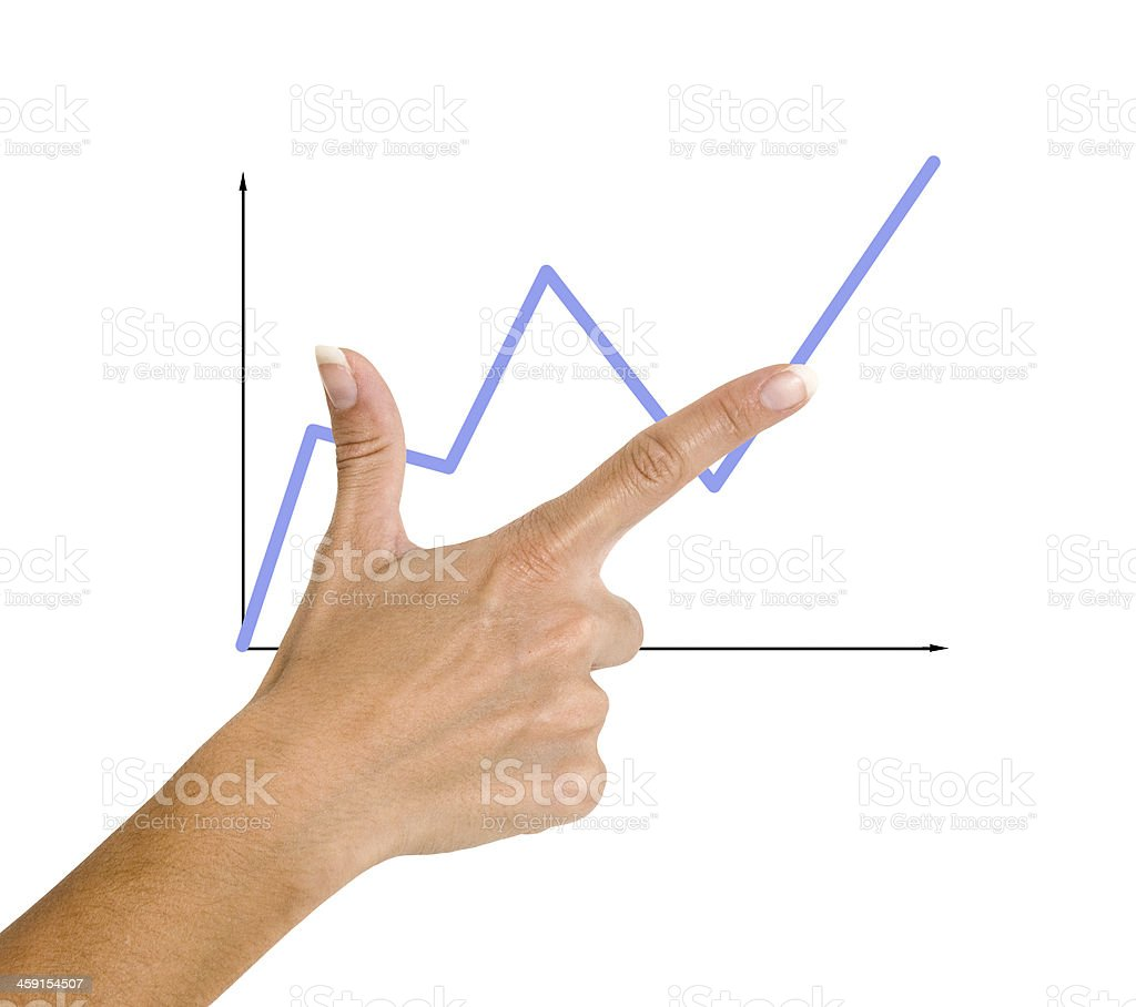 Finger pointing to a red chart stock photo