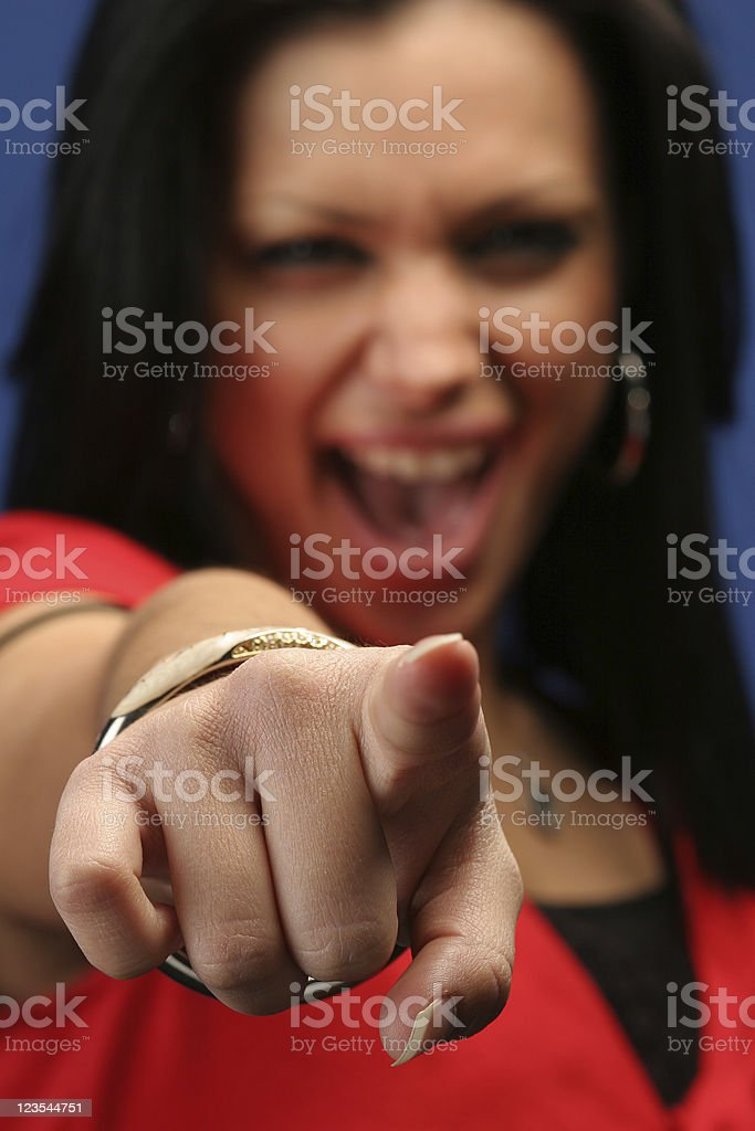 Finger pointing woman royalty-free stock photo