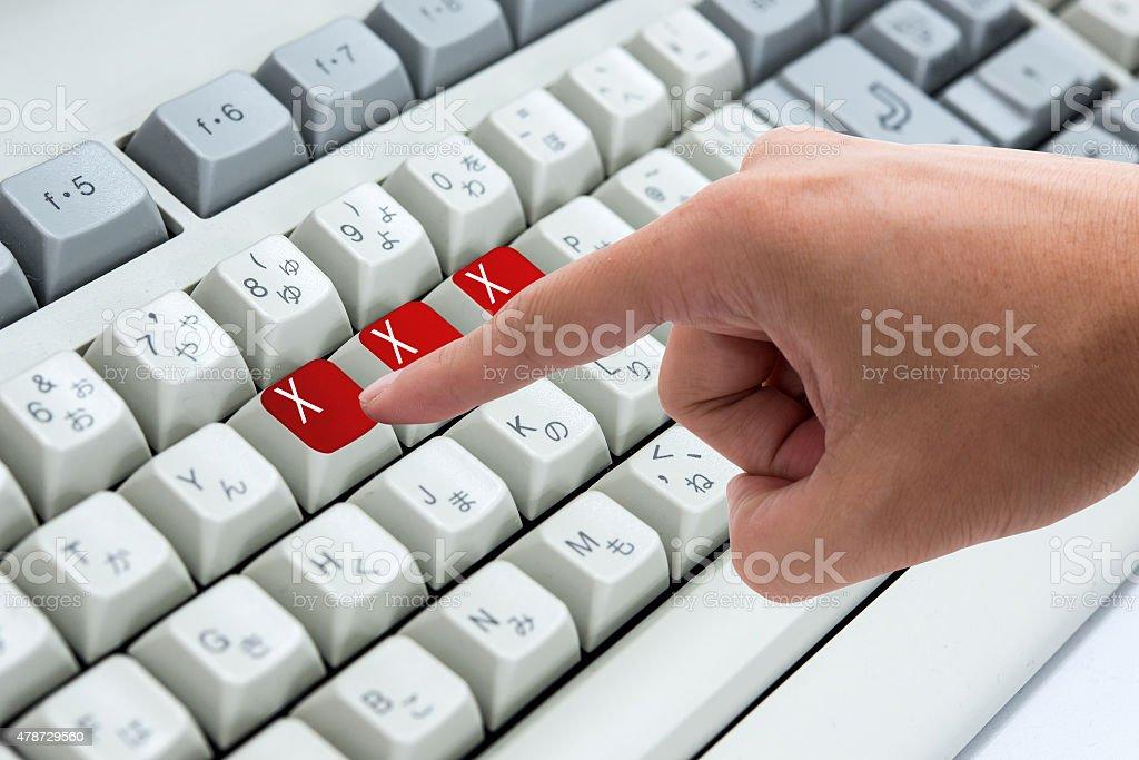 Finger pressing button Keywords xxx on keyboard computer stock photo