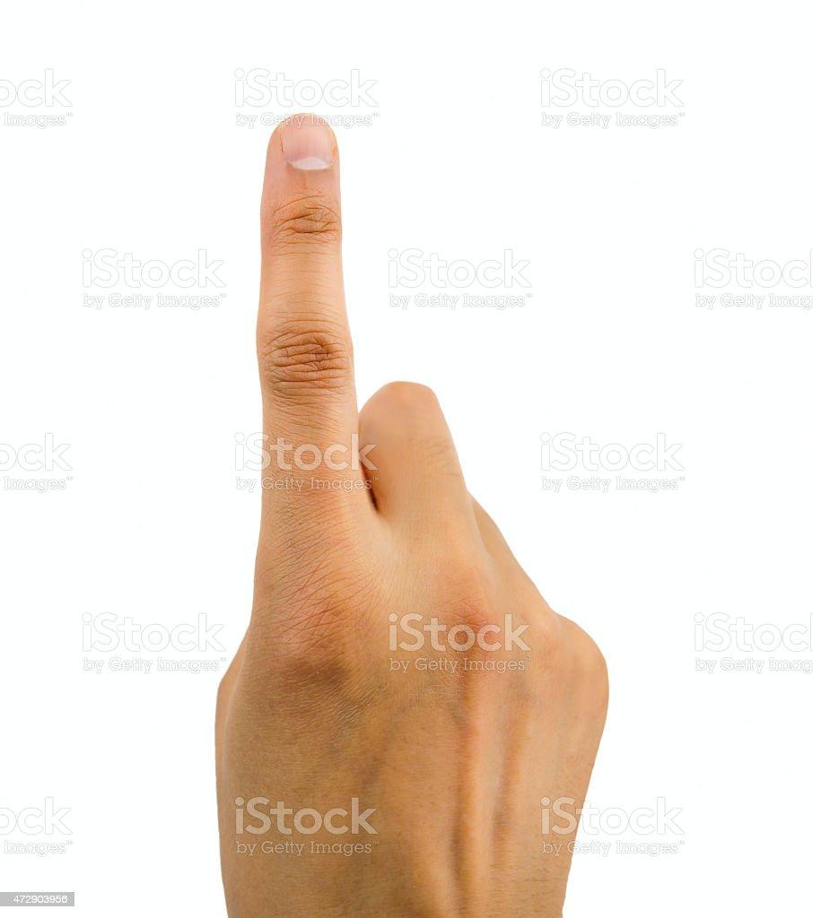 finger pressing stock photo