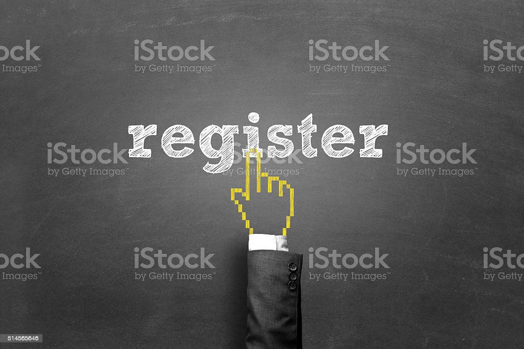 Finger pressing register button on a blackboard stock photo