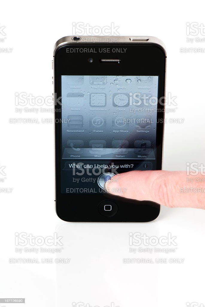 Finger Pressing Siri Help Screen royalty-free stock photo