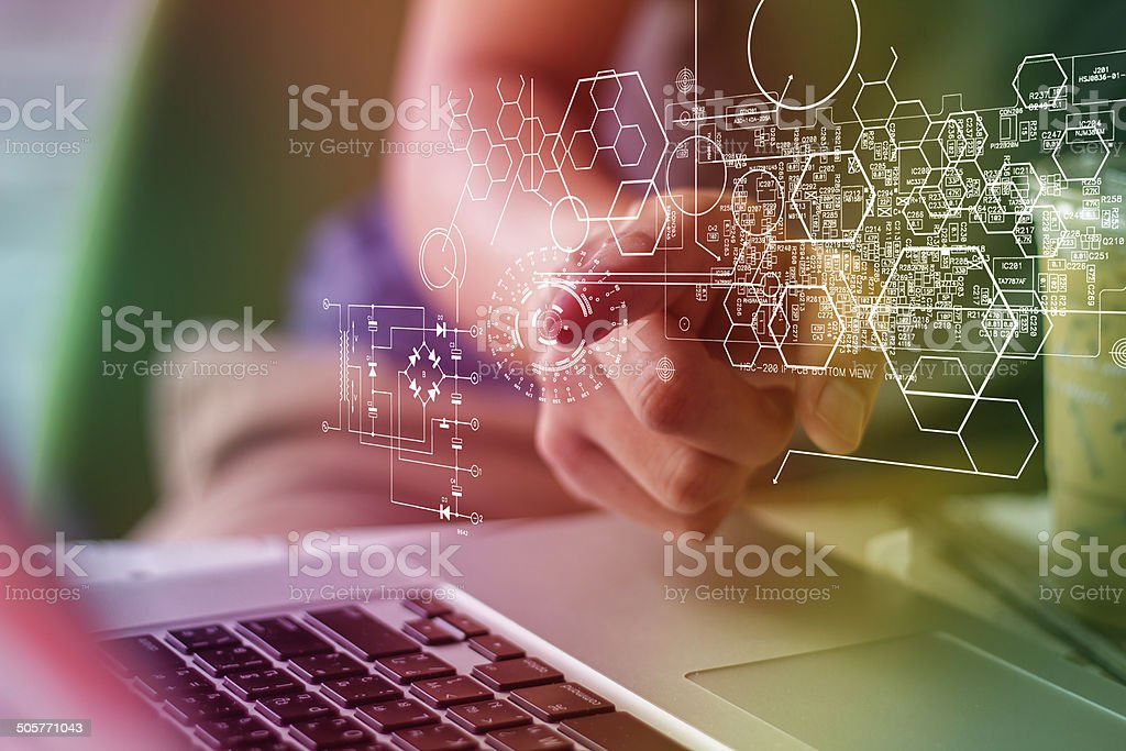 finger pressing virtual media type of buttons stock photo