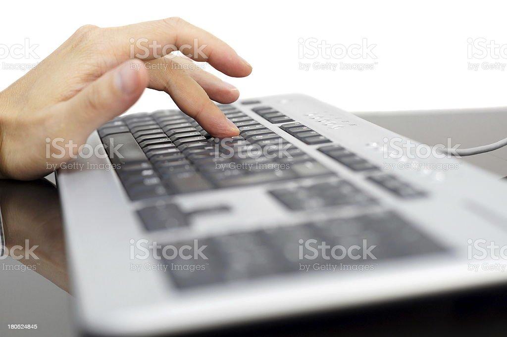 finger pressing 'Y' key on keyboard royalty-free stock photo