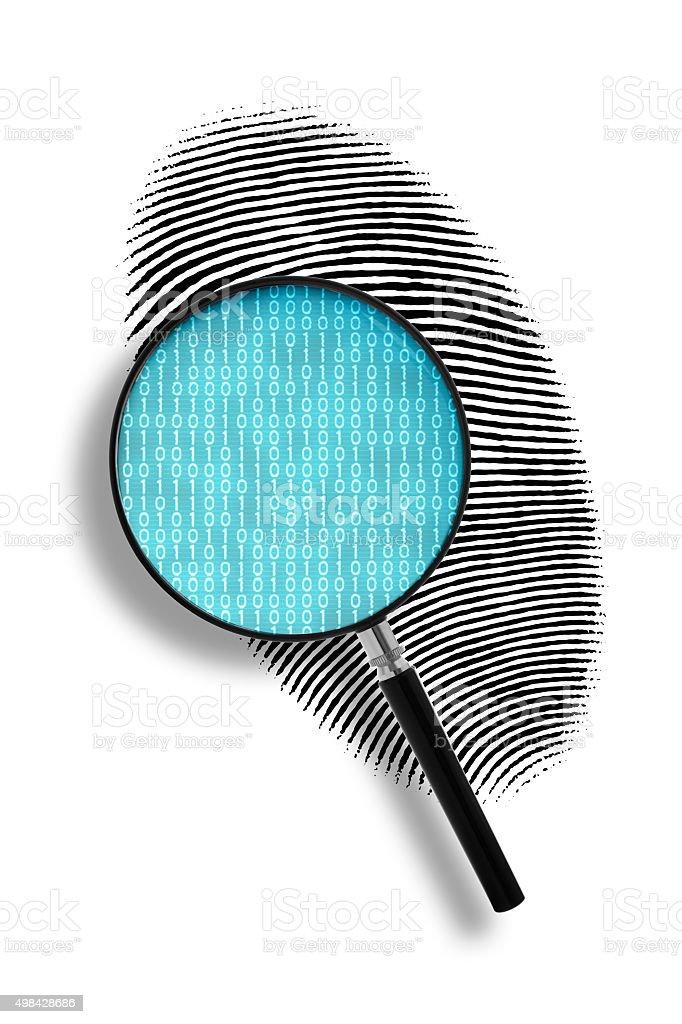Finger print and binary code stock photo