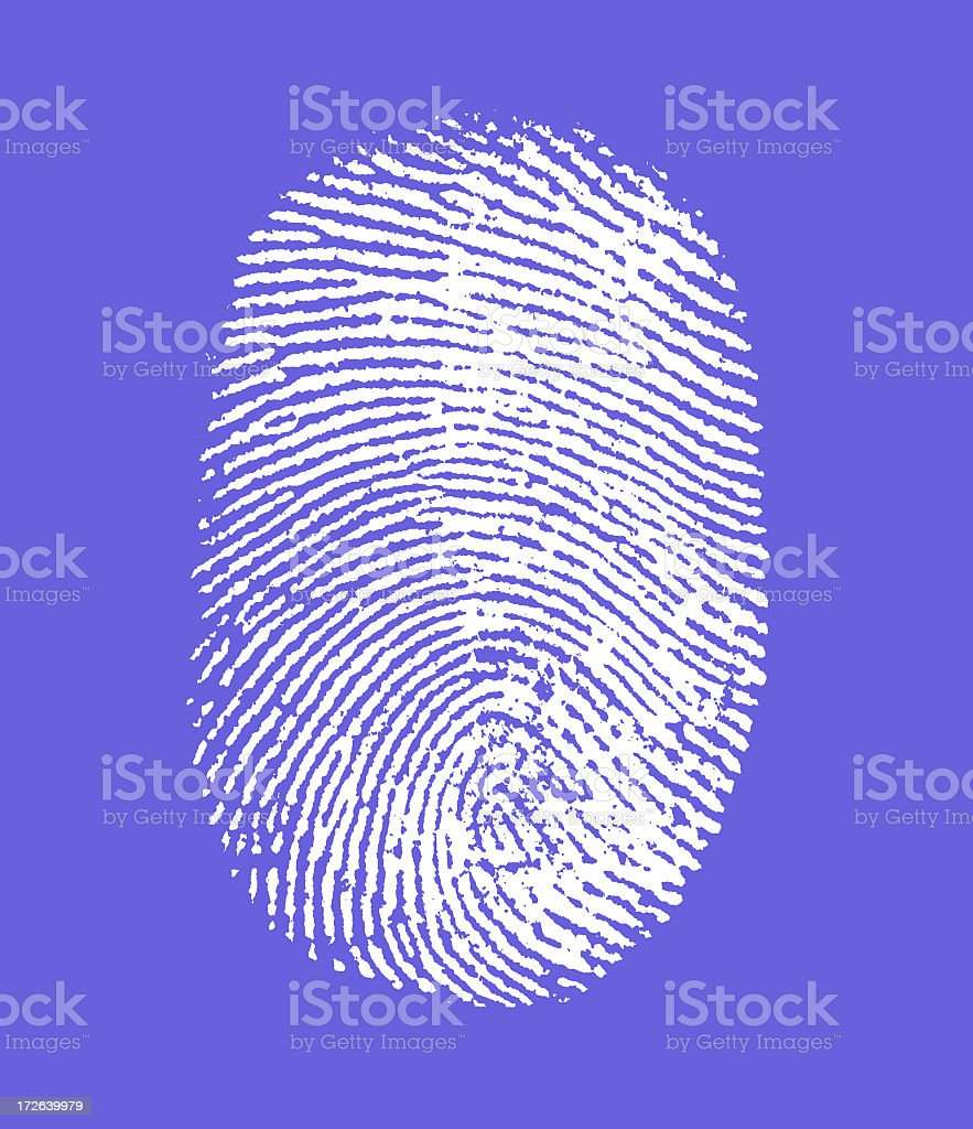 Finger print on blue background royalty-free stock photo