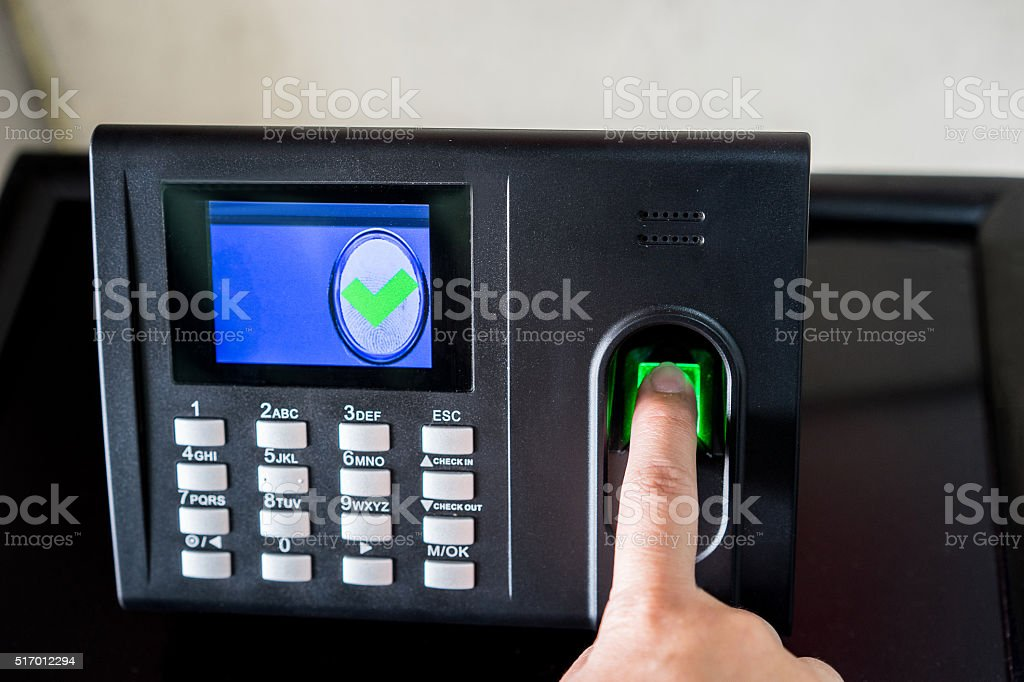 Finger print scan for enter security system stock photo