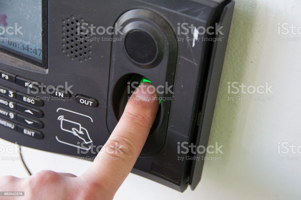 Finger print scan for enter security system. stock photo