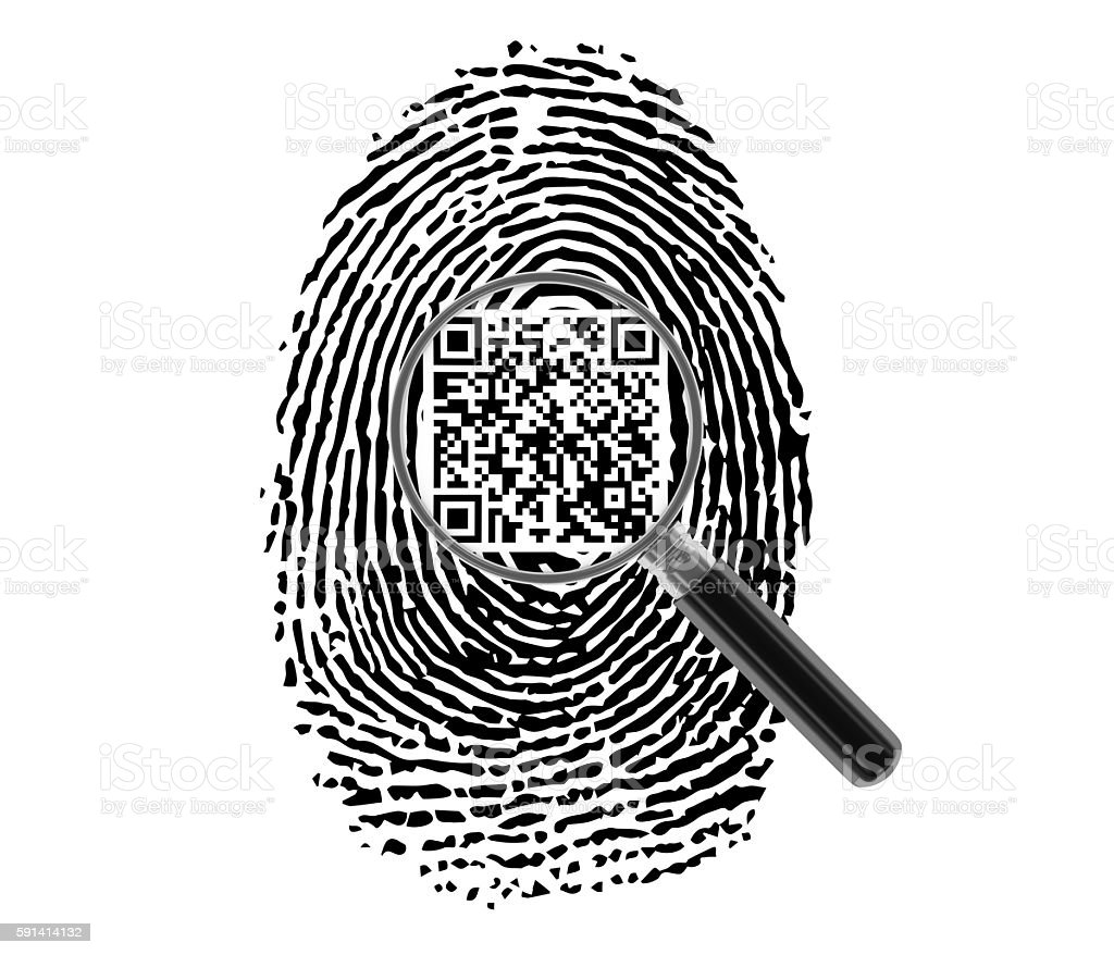 Finger Print with Magnifying Glass and QR Code stock photo
