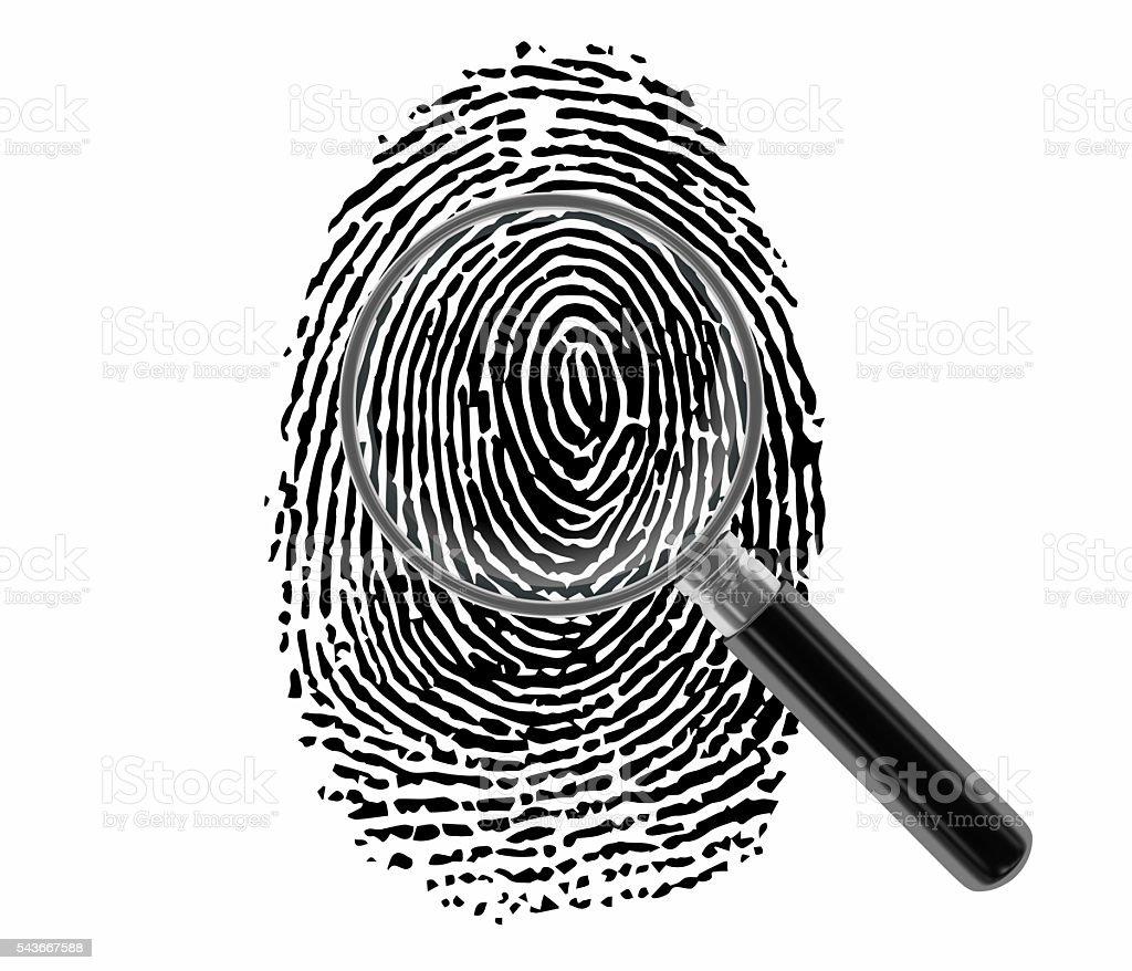Finger Print with Magnifying Glass stock photo