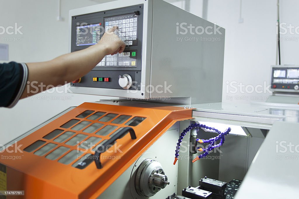Finger push button on control panel royalty-free stock photo