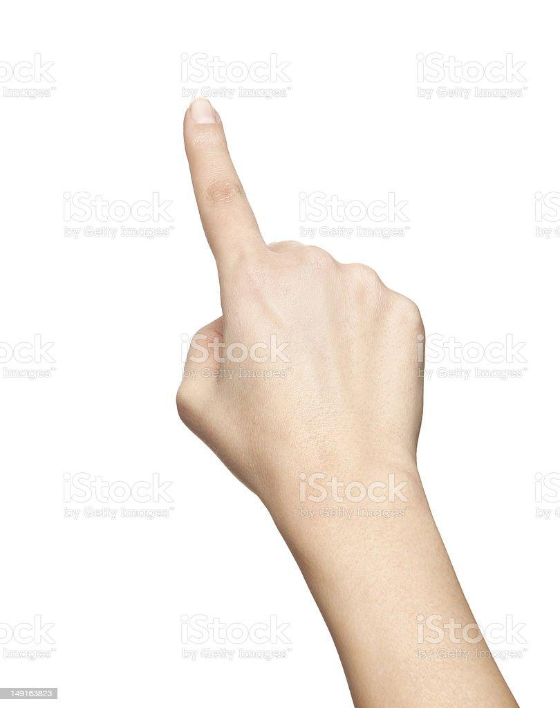 finger push gesture stock photo