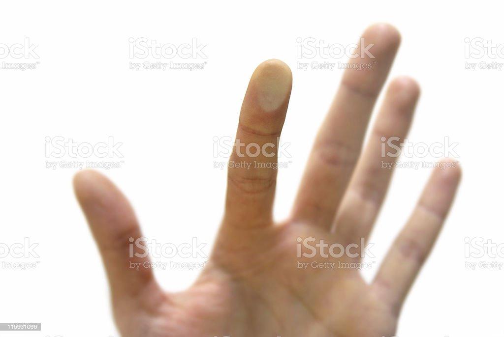 finger push on glass stock photo
