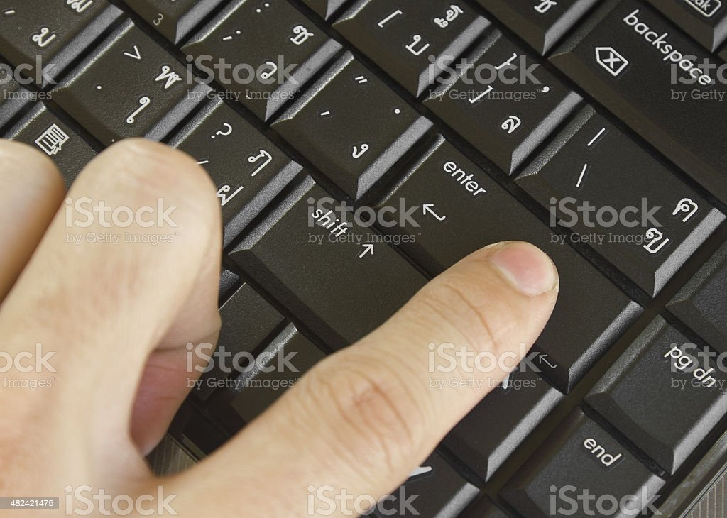 Finger pushing the button of keyboard computer royalty-free stock photo