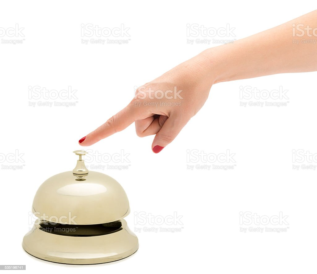 Finger Ringing Hotel Bell stock photo