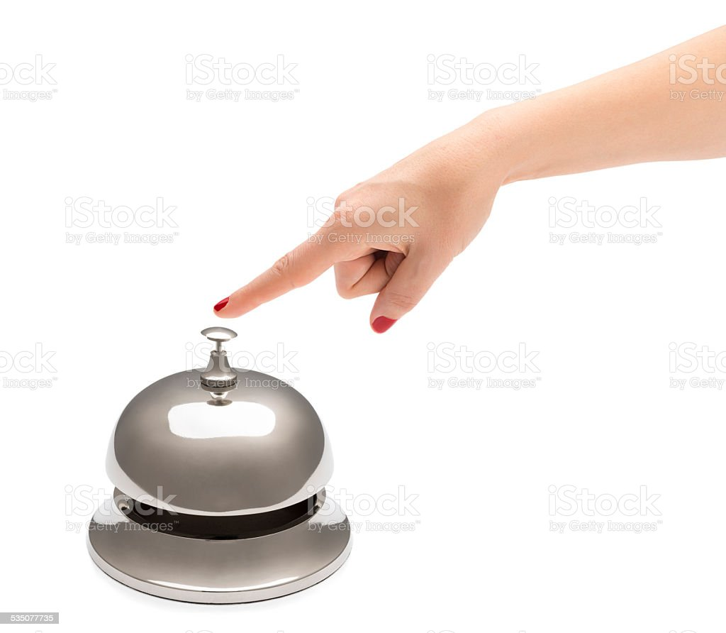 Finger Ringing Service Bell stock photo