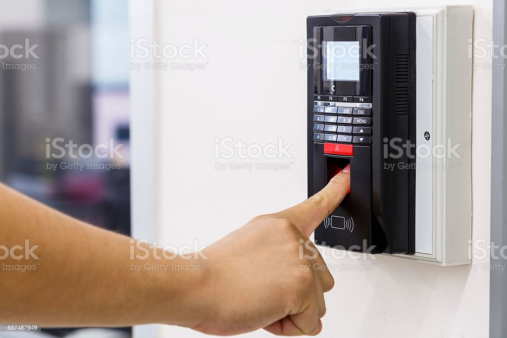 Finger scan for security system stock photo