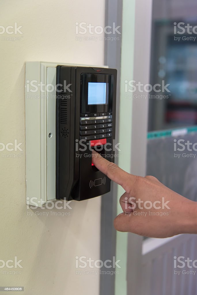 finger scan machine stock photo