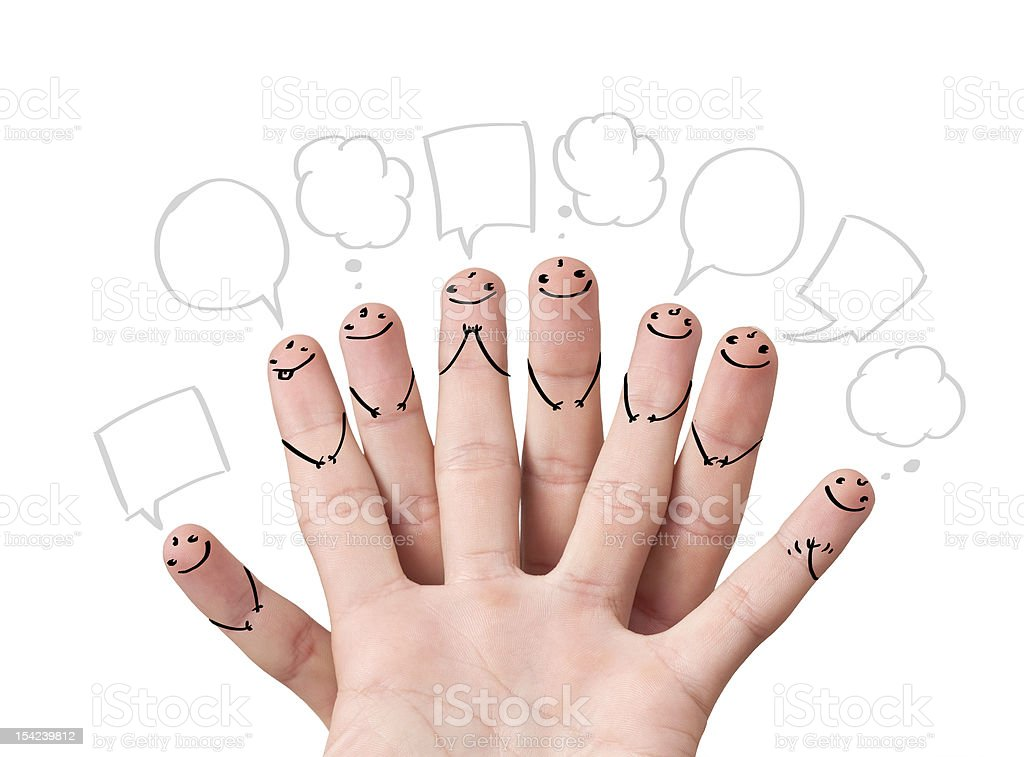 finger smileys with speech bubbles. royalty-free stock photo