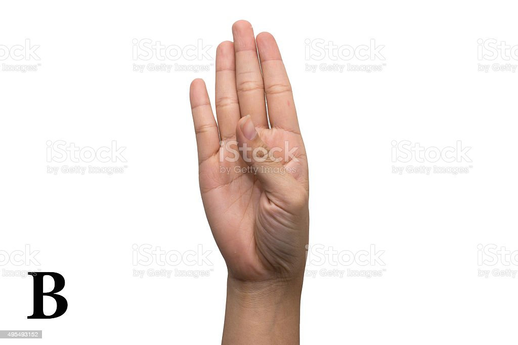 Finger Spelling the Alphabet in American Sign Language. Letter B stock photo