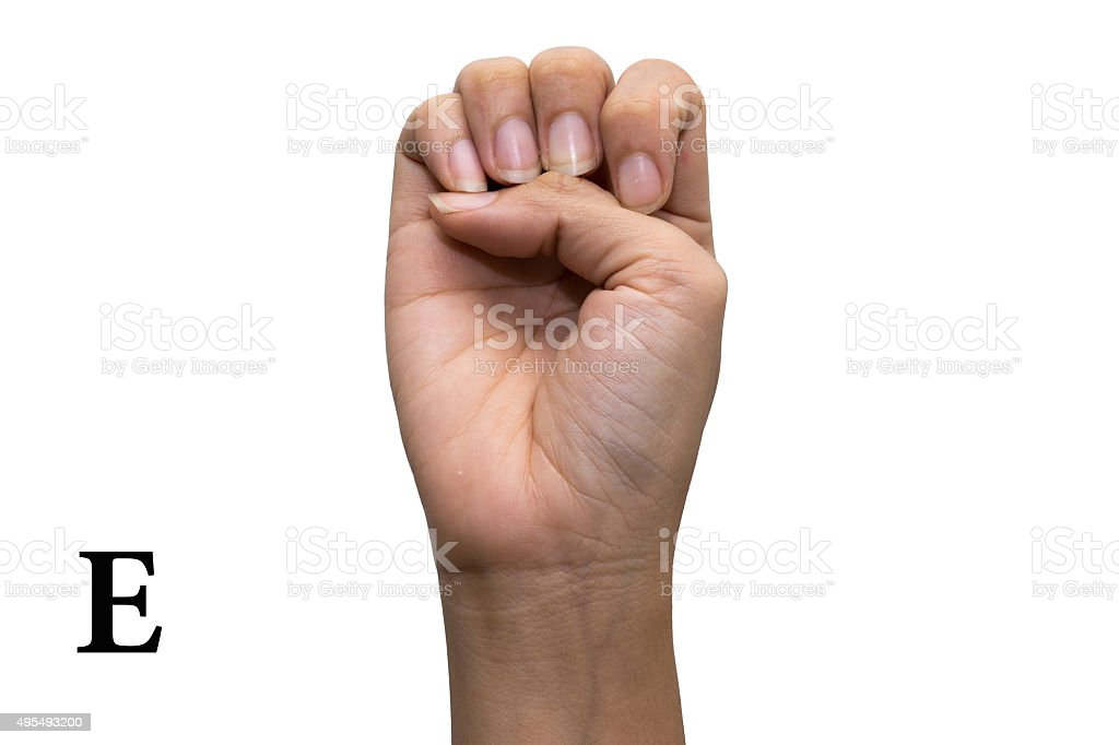 Finger Spelling the Alphabet in American Sign Language .Letter E stock photo