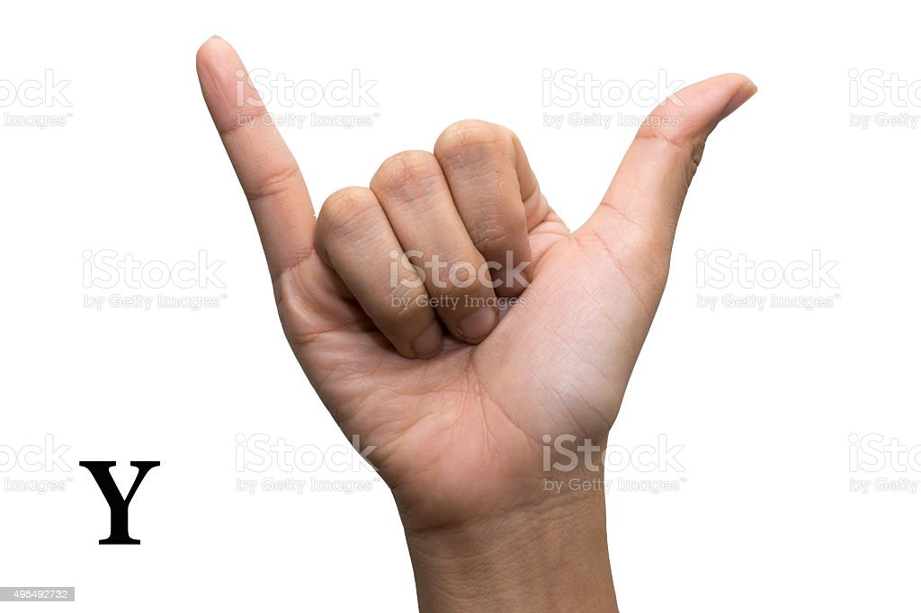 Finger Spelling the Alphabet in American Sign Language. Letter Y stock photo