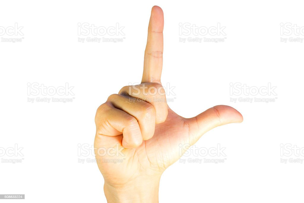 Finger Spelling the Alphabet in American Sign Language (ASL) stock photo
