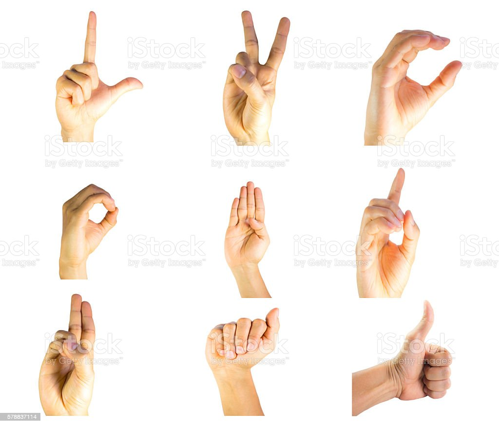 Finger Spelling The Alphabet In American Sign Language (ASL). stock photo