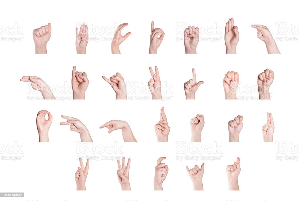 Finger Spelling the Alphabet stock photo