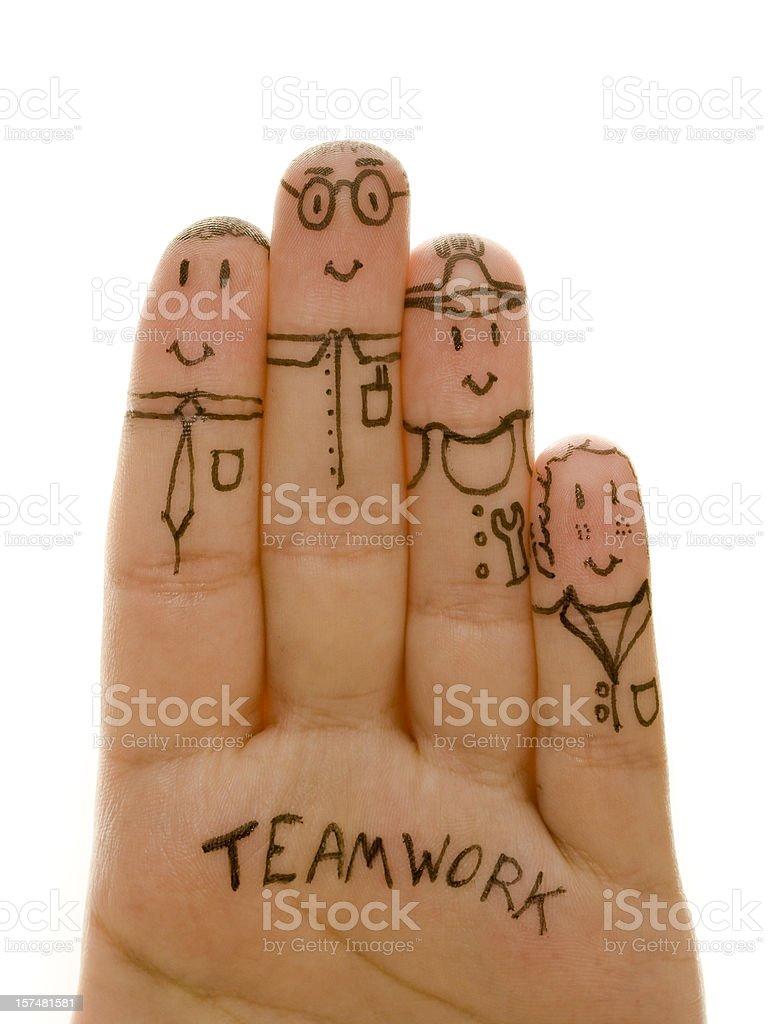 Finger teamwork stock photo