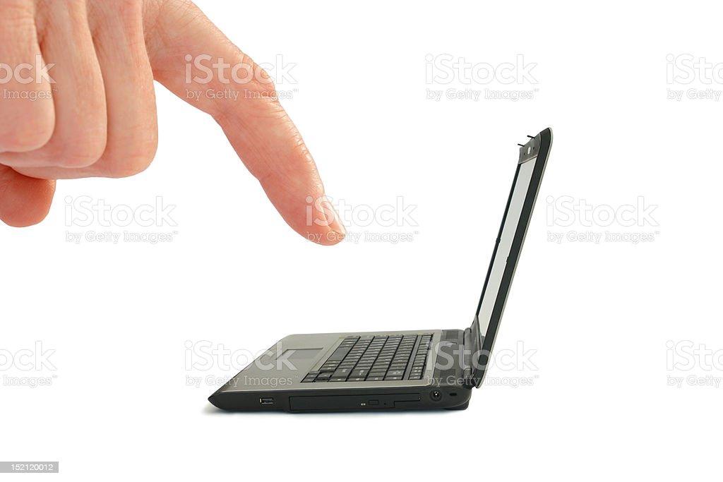 Finger Tiny Laptop (isolated on white) stock photo